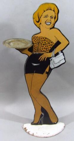 A modern printed wooden Margaret Thatcher figure waiter