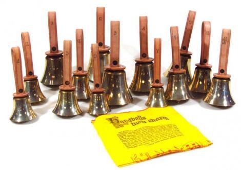 An as new set of fourteen modern White Chapel Bell Foundry hand bells