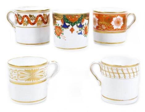 Five early 19thC Spode coffee cans