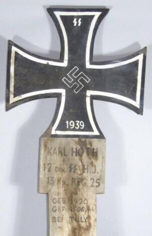 A Third Reich Waffen SS Iron Cross wooden grave marker marked Karl Hoth