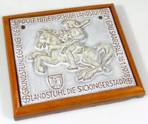 A Third Reich foundation stone of the Adolf Hitler School Landstuhl in Gausaarplatz