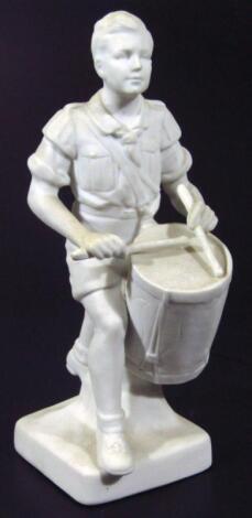 A Third Reich Hitler Jugend porcelain figure of a trommelbube (drummer boy)