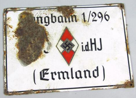 A Third Reich Hitler Jugend enamel building plaque for Ermland (East Prussia)