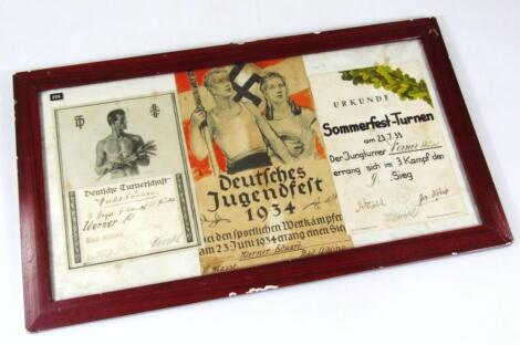 A Weimar Republic/Third Reich trio of achievement certificates
