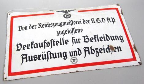 A Third Reich enamel sign