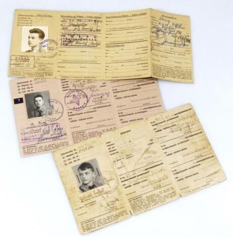 Three Third Reich Fuhrer auswris Den Hitler Jugend membership cards for Ulrich Knope