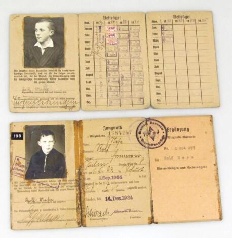 Two Weimar Republic/Third Reich Mitglieds Ausweis Fur Der Deutsche Jungvolk