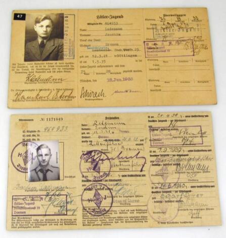Two Weimar Republic/Third Reich Fuhrer/Mitgleids Ausweis Der Hitler Jugend