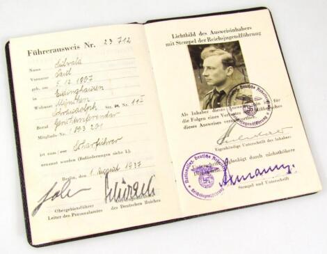 A Third Reich Hitler Jugend Fuhrer Ausweis