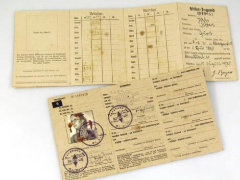 Two Third Reich Fuhrer/Mitgleids Ausweis Der Hitler Jugend membership cards