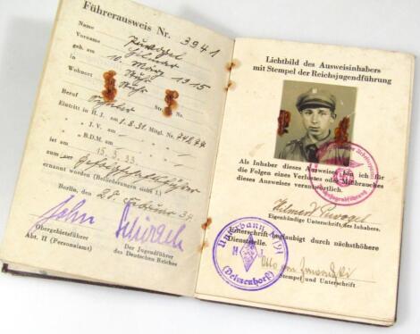 A Weimar Republic Hitler Jugend Fuhrer Ausweis papers