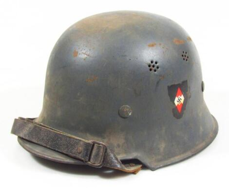 A Third Reich Hitler Jugend M1934 pattern civic model helmet