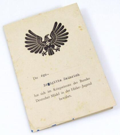 A Third Reich Deutscher Madel in Der Hitler Jugend attending card