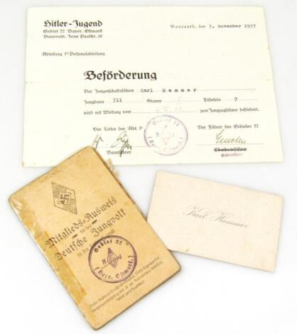 A Weimar Republic/Third Reich Deutsches Jungvolk Ausweis