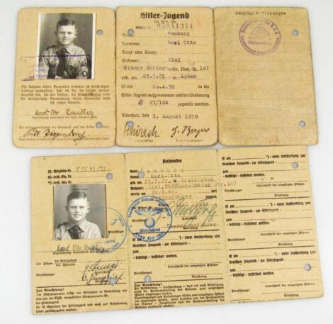 A Third Reich Hitler Jugend Ausweis pair to Karl Otto Lemburg of Kiel