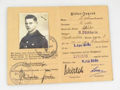 A Weimar Republic Hitler Jugend Ausweis to Willi Lechmann
