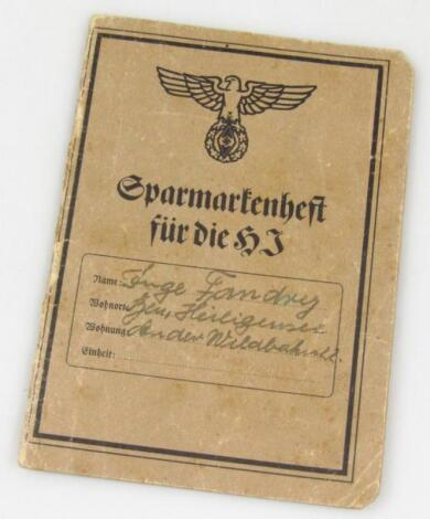 A Weimar Republic/Third Reich savings book allied to Sparkasse Bank