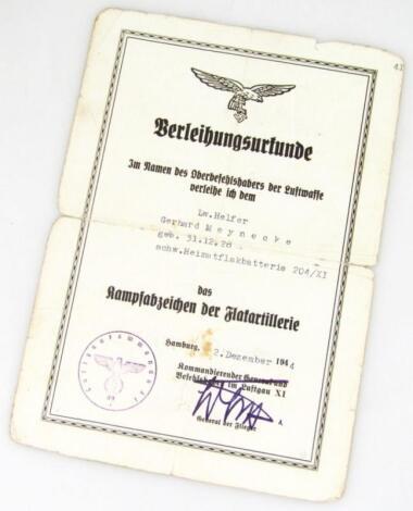 A Third Reich Luftwaffe certificate of award to L W Helfer Gerhard Meynecke