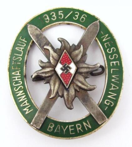 A Third Reich Hitler Youth 1935/36 Skiing Award badge/award