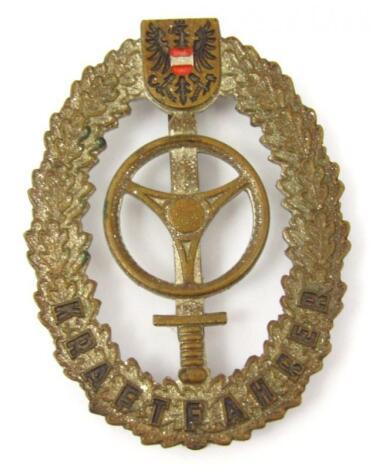 A Third Reich Bundesheer Kraftfahren badge