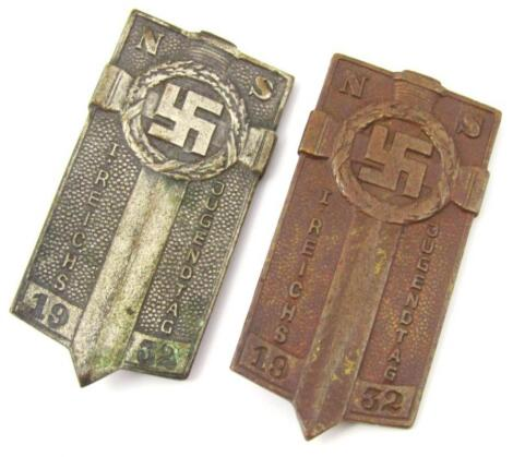 Two Weimar Republic First Reich's Youth Day of 1932 pin badges