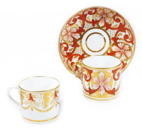 An early 19thC Coalport coffee can and saucer