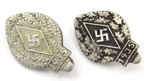 A pair of Third Reich Hitler Jugend Festival of 1935 badges