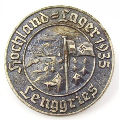 A Third Reich 'Hochland-Lager Lenggries 1935' Camping Exhibition Participation badge