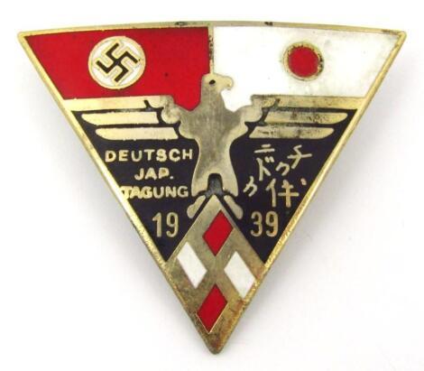 A Third Reich 'Deutsch Jap Tagung 1939' enamel pin badge