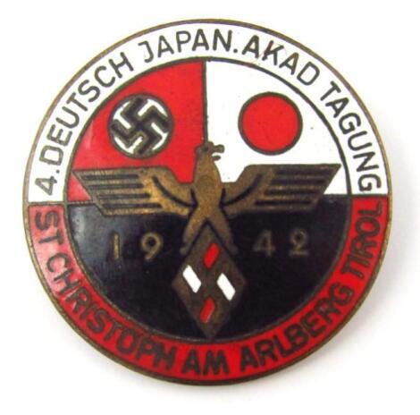 A Third Reich 4 Deutsch Japan Akad Tagung St Christoph Am Arlberg Tinol 1942 enamel badge