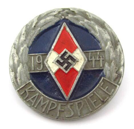 A Third Reich Hitler Jugend 1944 Kampfspiele 'silver' coloured badge