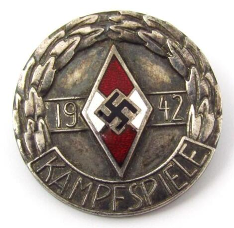 A Third Reich Hitler Jugend 1942 Kampfspiele 'silver' coloured badge