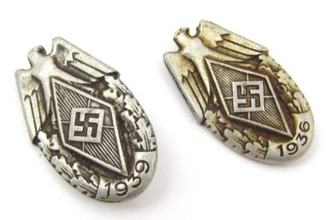 Two Third Reich Hitler Jugend Sports Festival badges for 1936 and 1939