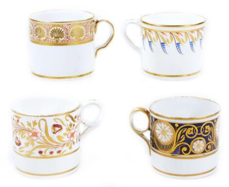Four various early 19thC English porcelain coffee cans