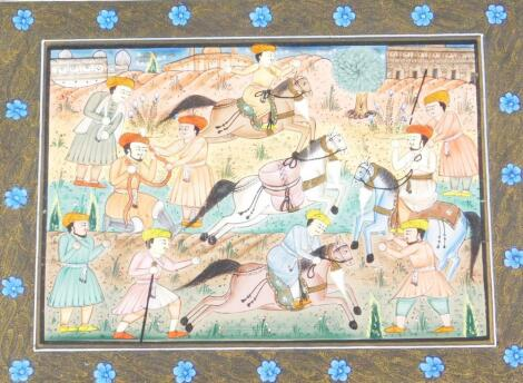 Indian School. A painted panel of various figures and horses