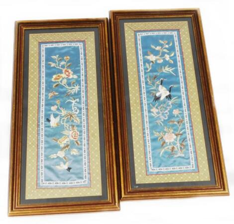 A pair of late 19thC Chinese silk embroidery panels