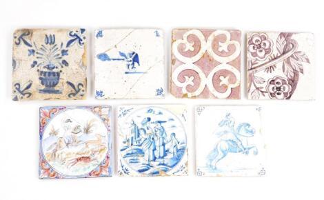 Various 18thC English and Dutch Delft tiles