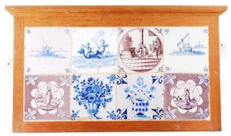 A panel of various 18thC English and Dutch Delft tiles
