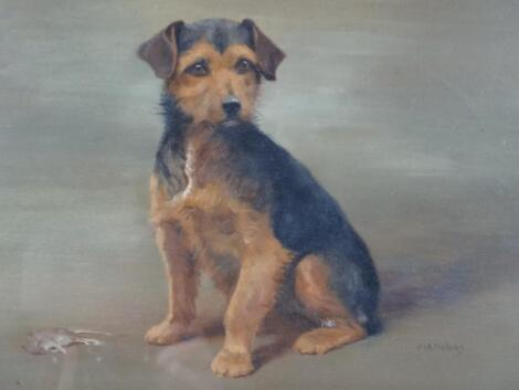 Frances Mabel Hollams (1897-1929). Rummy black and tan terrier aside the day's catch