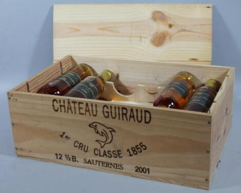 A set of ten bottles of Chateau Guiraud 2001 Sauternes wine