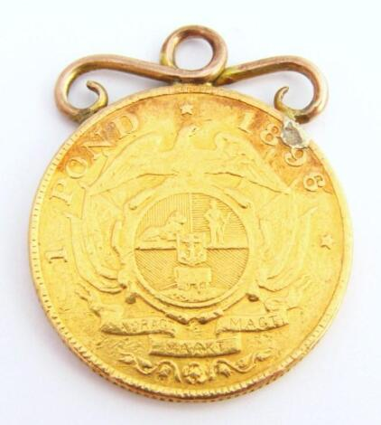 An 1896 gold South African pond (pound) coin
