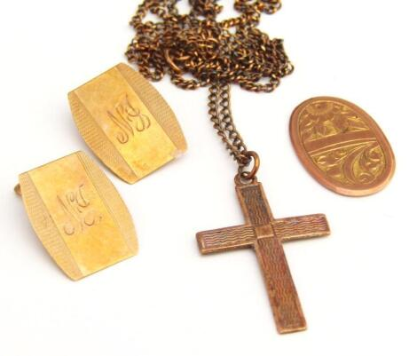 Various scrap 9ct gold cufflink ends