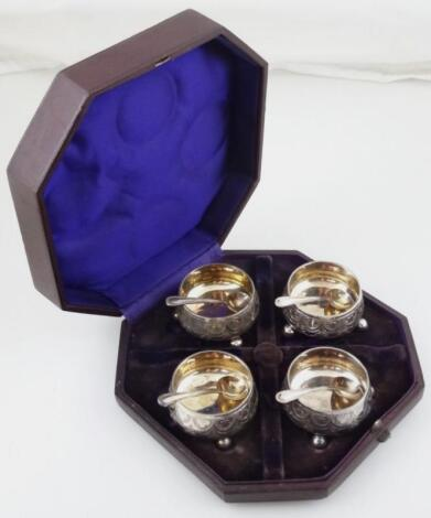 A suite of four Edwardian silver plated open salts