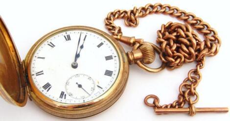 A 9ct gold graduated Albert watch chain