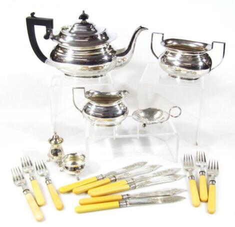 An early 20thC silver plated three piece part tea service
