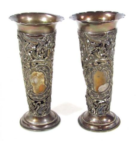A pair of Victorian silver vases