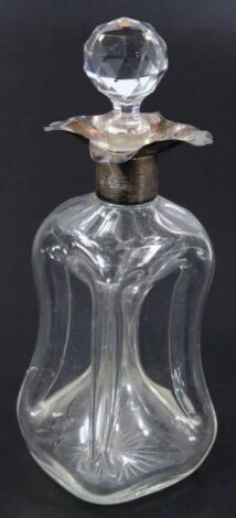 A principally Victorian silver and glass inverted decanter