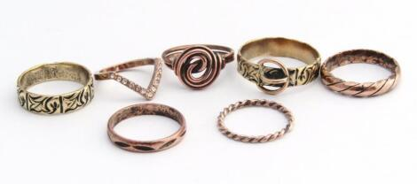 An assortment of various ladies rings