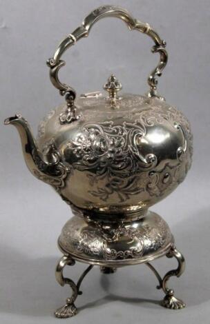 An Edwardian silver plated spirit kettle