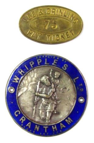 A Whipples Limited Grantham partial and enamel St Christopher badge